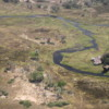 Okavango Delta, photographed from a small plane: Note the lodge adjoining the large channel in the Delta