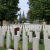 British War Cemetery, Bayeux, France: You can see the spires of the Bayeux cathedral in the background
