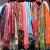 Ceský Krumlov -- store display: Scarves and shawls, a colorful display