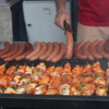 Prague -- Food vendor in Old Town Square: The kabobs and sausages smelled (and tasted) great!