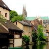 Eure River, Chartres, France: A calm and beautiful setting.  A medieval town with a picturesque river flowing through it