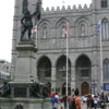 Notre Dame Basilica, Montreal: Place d'Armes is in the foreground