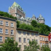 Quebec -- Basseville: The Chateau Frontenac seen high above on Cap Diamant, with the buildings of the lower city beneath it.