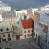 Quebec -- Basseville: Rooftops of the lower city and another of the terrific murals painted on old buildings.