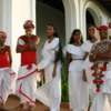 Traditional Sri Lankan dancers, Colombo: Beautiful young people proudly displaying their traditional dress. They are attending a wedding at the Galle Face Hotel.