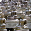 Colombo Buddhist temple: There were hundreds of similar appearing Buddha statues there.