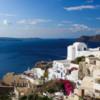 Santorini: A view into the Caldera and the beautiful Aegean Sea beyond