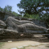 Polonnaruwa -- Gal Vihara: Over 45 feet in length, the reclining image is the largest statue in the Gal Vihara complex.
