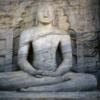 Polonnaruwa -- Gal Vihara: Sitting Buddha image.