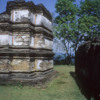 Polonnaruwa -- Resthouse group: Some of the plaster used to decorate these ancient buildings remains.
