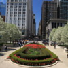Chicago -- Millennium Park entrance: The tulips and cherry trees were blooming.