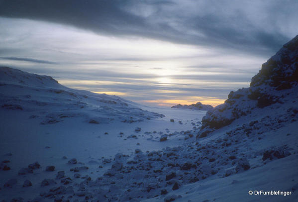 Mt. Kilimanjaro 3-1999 109 Western Icefields camp Sunrise