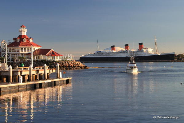 Long Beach Harbor, distant view of the Queen Mary