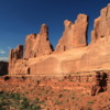 Arches National Park -- Park Avenue: Viewed at dusk. It's one of the most striking formations in the park and one of the first you encounter as you ente