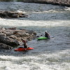 Missoula -- kayaking the Clark Fork River: The city has a whitewater park, part of which is seen here.
