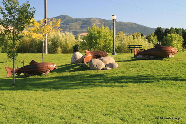 Missoula -- Riverside salmon run artwork
