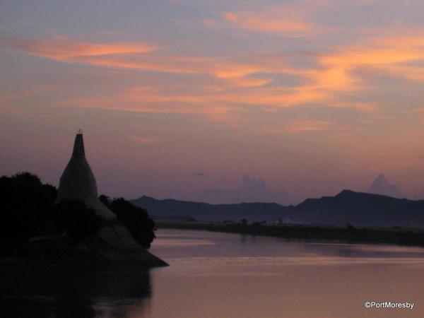 Burma: Irrawaddy River at Sunset.