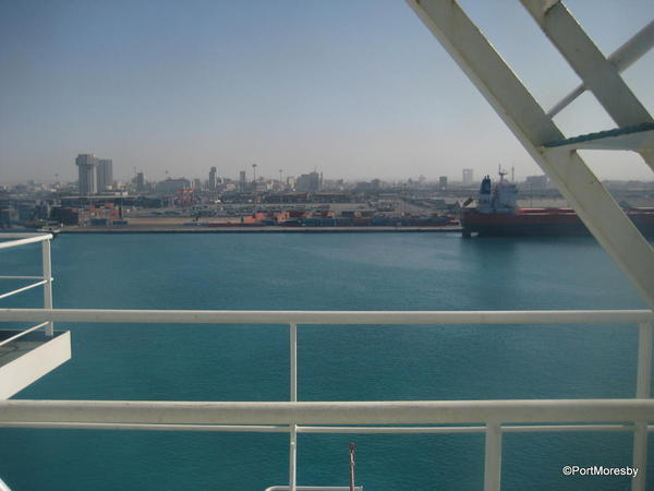 Turquoise water in the Port of Jeddah.