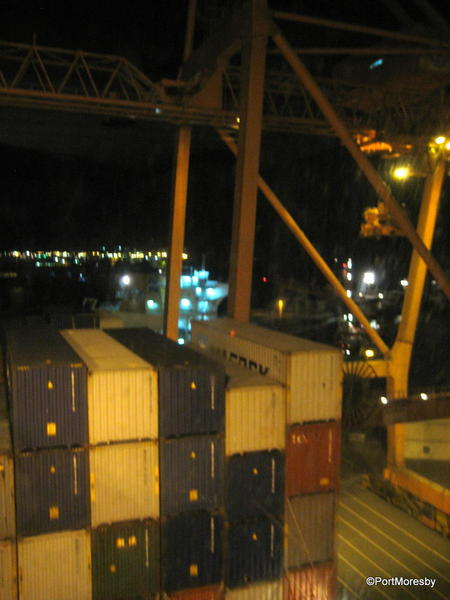 Port of Jeddah at night.