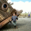 Pesuta Shipwreck, Naikoon Provincial Park, Haida-Gwaii, British Columbia: DrFumblefinger tries to push up what's left of the shipwreck