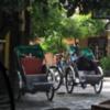 Rickshaw drivers having a break.