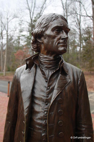 Detail of Thomas Jefferson statue at Monticello