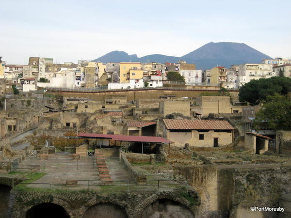 Herculaneum, old & new with Vesuvius.
