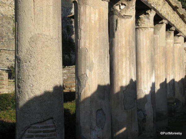 Garden with pillars.
