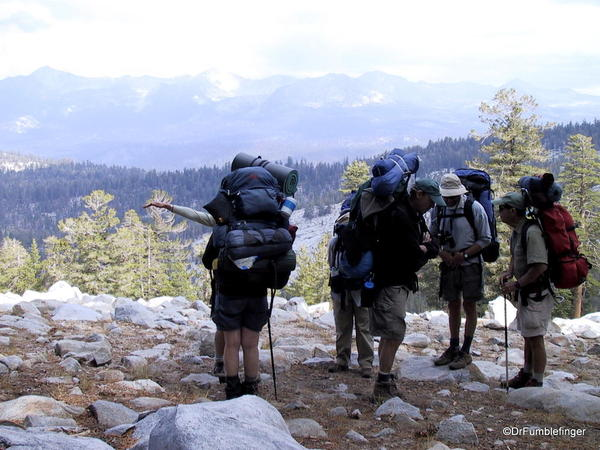 Backpacking with a group, Ostrander Lake trail.