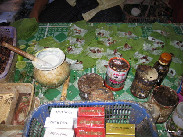Paan maker's stall.