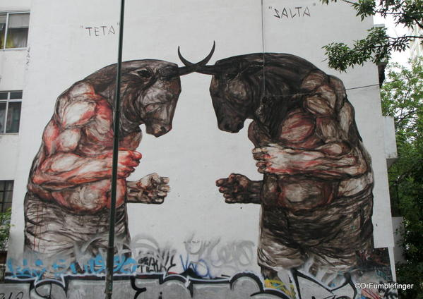 """Street art in the Colegiales barrio. Painting by """"Jaz"""""""