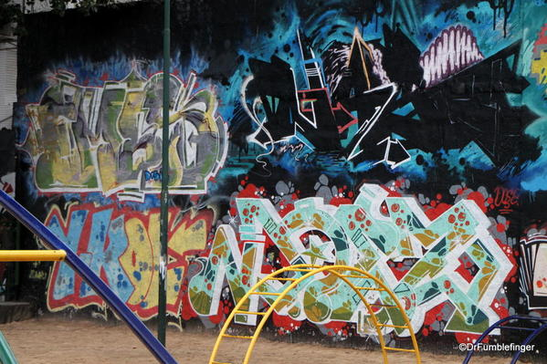 Street art in a playground in the Colegiales barrio.