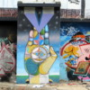 Street art on the walls of a power plant in the Colegiales barrio.