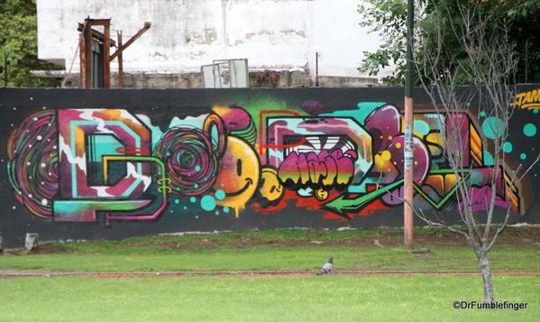 Street art on the walls of the Colegiales barrio.