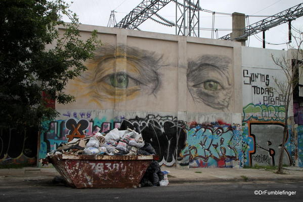 Street art, in charcoal, on the walls of a power plant in the Colegiales barrio.