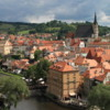 Cesky Krumlov.  Town overview and River Vltava