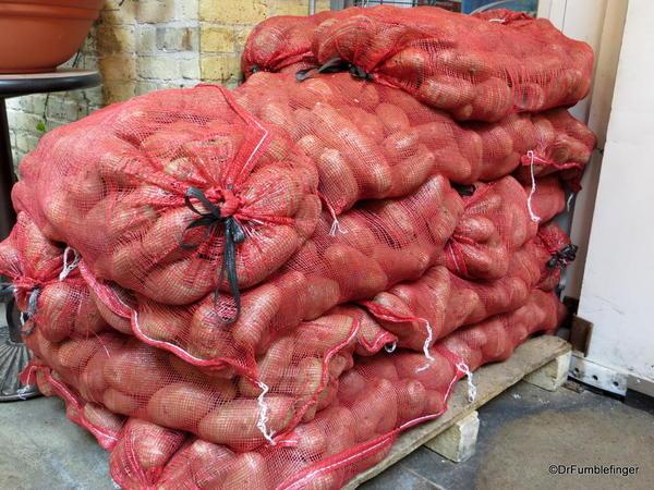 Stacks of potatoes, the Forks Market, Winnipeg