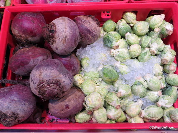 Beets and brussel sprouts, the Forks Market, Winnipeg