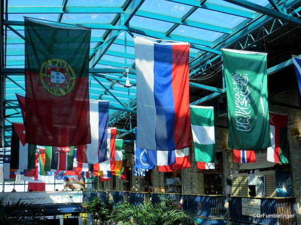 Skylight and flags, the Forks Market, Winnipeg