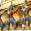Temple of the Jade Buddha-7: Demons and monkey soldiers around the base of a guilded stupa
