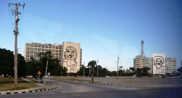 Visitors can also see the giant likenesses of revolutionary hero Che Guevara on major structures in the city