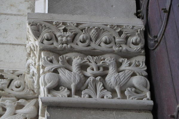 Details to the entrance to the chapel at Abbey Fountrevaud