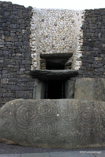 Entry to the passage tomb of Newgrange: Notice the window above the door, which allows sunrise light in during the winter solstice