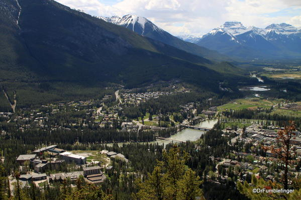Banff town view from summit of Tunnel Mountain trail, Banff National Park