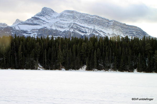 Mt. Rundle, from Johnson Lake Trail in the Winter