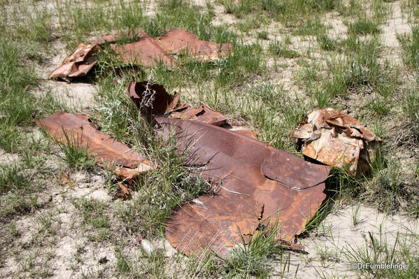 Old mining debris adjoining the path descending into Horseshoe Canyon