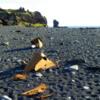 Dritvik - Djupalonssandur, Iceland: Black sand beach with ship wreckage in foreground, Atlantic Ocean in background.