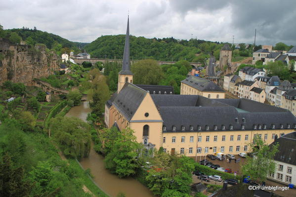 Luxembourg City. Ramparts, River and Church