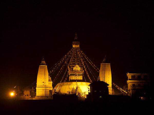 Swayambhunath At Night. Courtesy Wikimedia, Jean-Marie Hullot