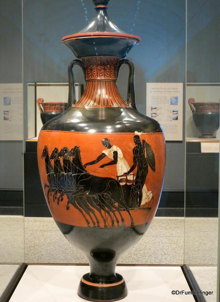 Getty Villa. Greek pottery Prize vase with olive oil 350 bc
